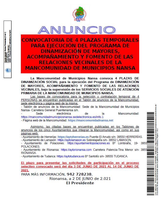 CONVOCATORIA DE 4 PLAZAS TEMPORALES PARA EJECUCIÓN DEL PROGRAMA DE DINAMIZACIÓN DE MAYORES, ACOMPAÑAMIENTO Y FOMENTO DE LAS RELACIONES VECINALES